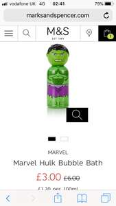 M&S HALF PRICE MARVEL & STAR WARS BUBBLE BATH £3.00