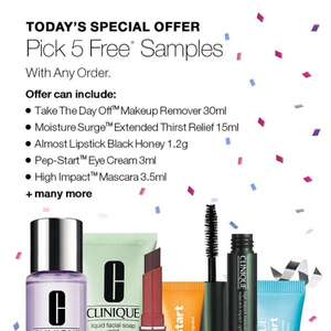 5 free deluxe samples with ANY order at Clinique plus free del