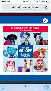 Up to 60% off at build a bear online only!