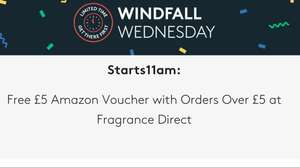 windfall wednesday - £5 Amazon voucher with orders over £5 at Fragrance Direct