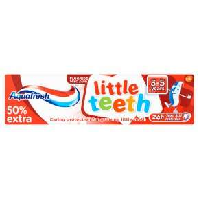Aquafresh Little / Big Teeth Teeth (75ml) / was £1.50 now Mix & Match Add 2 for 1 Cheaper Item Free / Aquafresh Tooth Paste Milk Teeth (50ml) was £1.50 now Mix & Match Add 2 for 1 @ Waitrose
