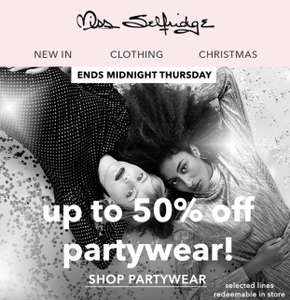 Up to 50% off party wear af Miss Selfridge
