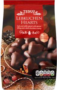Tesco Christmas Dark Chocolate Lebkuchen Hearts (250g) was £1.00 now 2 for £1.50 @ Tesco