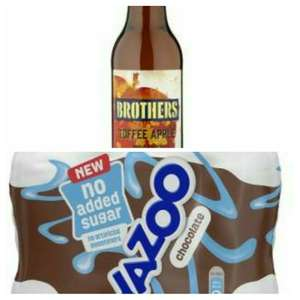 FREE  Brothers Toffee apple cidre and Yazoo chocolate drinks £2 (6x200ml + 4x200ml) w/ Checkoutsmart  from Tesco.  (The cider offer @ Morrisons too)