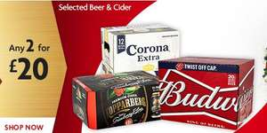Carling, Bud, Corona, Stella, Magners, Strongbow, Hop House, Kopparberg, Desperados, Estrella, Goose Island - 2 for £20 - Mix 'n Match 'till Dec 26th - MORRISONS
