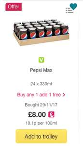 48 Pepsi Max / Cherry / Diet / Regular / 7 Up / Tango - £8 (Max) / £10 (Rest) @ Ocado