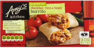 Amy's Kitchen Cheddar Cheese, Rice & Bean burrito (156g) was £2.00 now £1.00 @ Waitrose