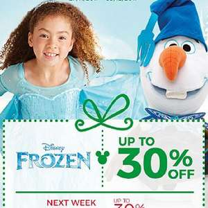 Disney Store - 30% off frozen this week and 30% off moana next week
