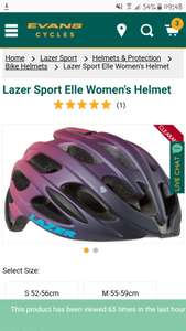 Lazer sport Elle womens cycle helmet with aeroshell from Evans Cycles £23.99 delivered plus 4.2% TCB