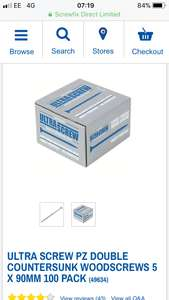 Ultra stainless wood screws 90 mm long - 99p at Screwfix