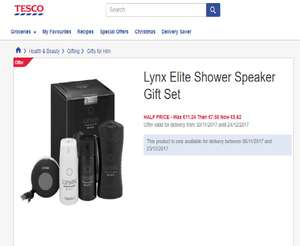 Lynx Elite Shower Speaker Gift Set.*Further Reduction* - £5.62 @ Tesco