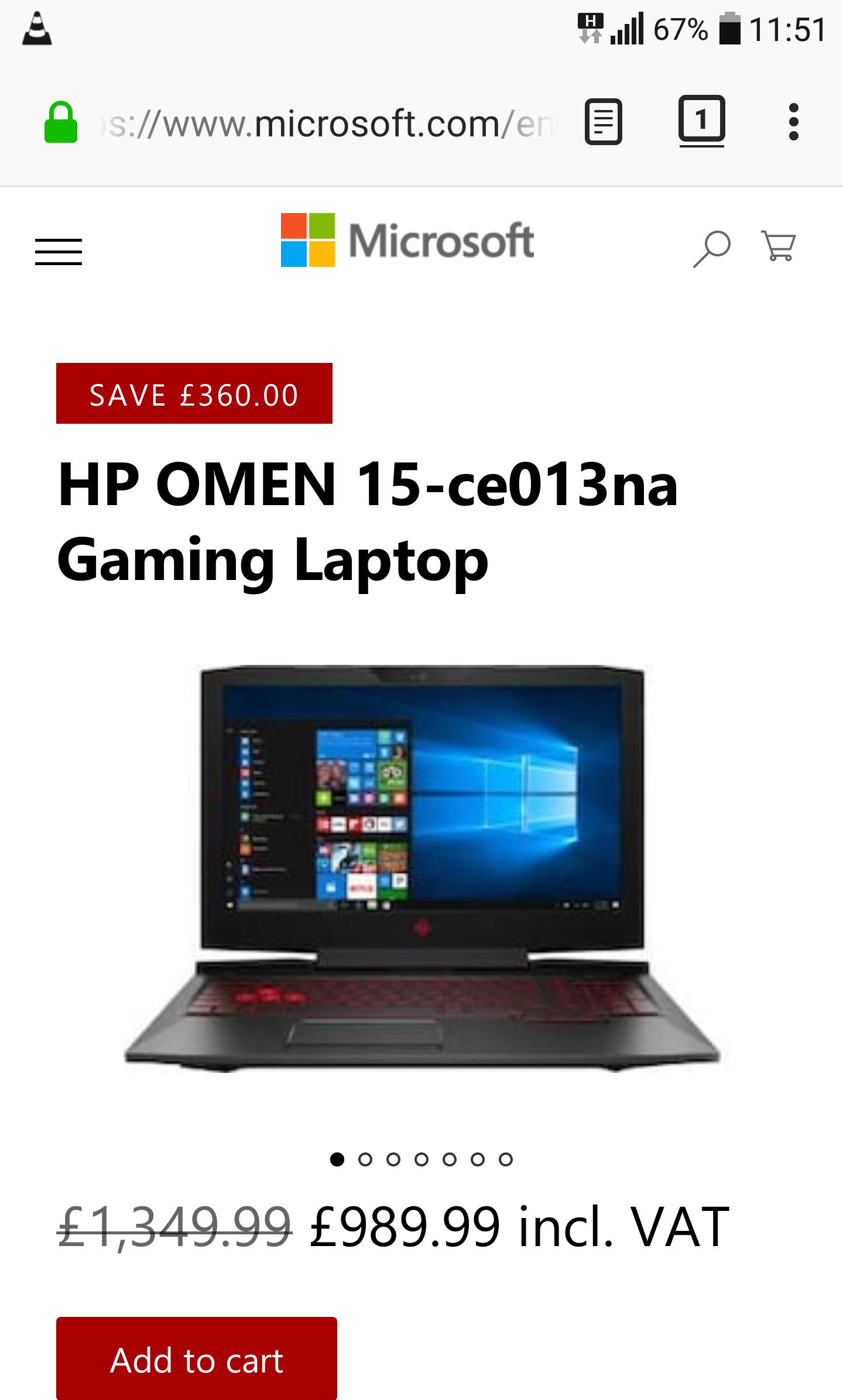 Hp Omen 15 i7-7700HQ, 1080p 120hz, GTX 1060 £989.99 - Microsoft Store