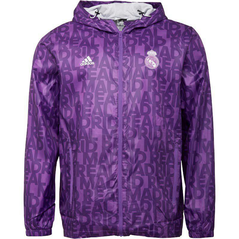 adidas Mens RMCF Real Madrid Windbreaker Jacket Ray Purple £27.48 MandM Direct
