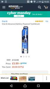 Great value for a top brand, over 50% off absolute bargain Oral-B Advanced Battery Powered Toothbrush  £5.99 (Prime) / £9.98 (non Prime) Amazon