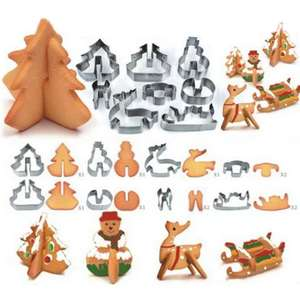 8 Piece 3D Christmas Scenario Cookie Cutter Set in Stainless Steel £1.07 Del w/code @ Rosegal