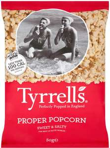 Tyrrells Sweet & Salty Poshcorn (80g) / Tyrrells Poshcorn Sea Salted (70g) was £1.59 now 79p / Tyrrells Poshcorn Sweet (90g) / Tyrrells Coconut & Caramel Poshcorn (75g) was £1.69 now 84p​ @ Ocado