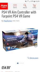 **UPDATE**LOOKS TO BE OOS FOR DELIVERY.  MAY BE OPTIONS TO COLLECT IN STORE DEPENDANT ON AREA AND STOCK ***PlayStation Vr Aim Controller and Farpoint. Spend £50.00 get £5.00 voucher back at Argos