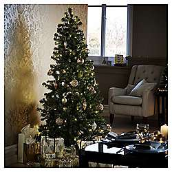 6ft Pre-lit Evergreen Christmas Tree (150 warm white LEDs) £28 @ Tesco