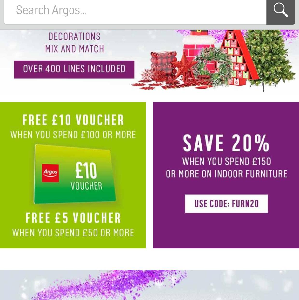 20% off all indoor furniture at Argos and £10 voucher