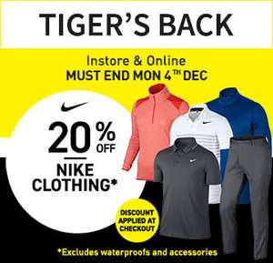 20% off selected Nike Golf Clothing at American Golf until 4th December
