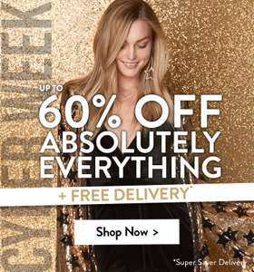 Upto 60% off everything including sale items. *Extra 10% off using code *Ends midnight tonight + free delivery (ends 10pm) at boohoo