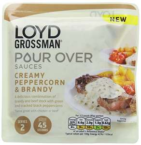 LOYD GROSSMAN® Pour Over Gourmet Sauces - Pack of 6 Pouches ~ Creamy Peppercorn and Brandy only £2.86 @ Amazon.co.uk [Add-on Item]