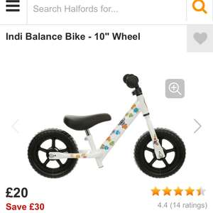 Kids Balance Bike - was £50 now £20 with £10 accessory if collected before 8th December @ Halfords - edit - now £25
