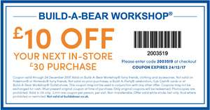 £10 off £30 at Bulid a bear in store till 24/12