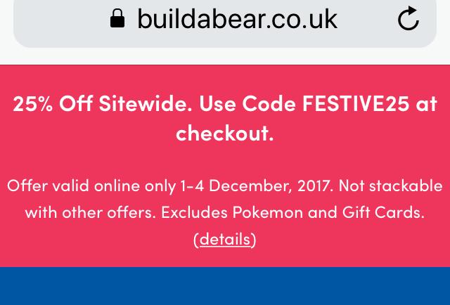 25% off at build a bear