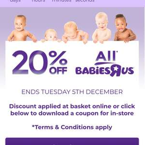 20% off all babiesRus site