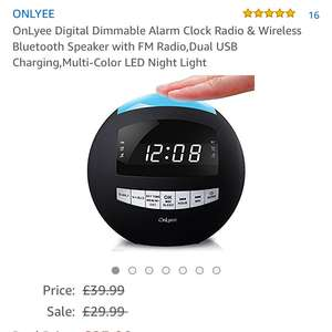 Bluetooth, night light and duo usb charger alarm clock £23.99 Sold by Onlyee Tech and Fulfilled by Amazon. - lightning deal