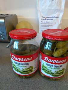 Pickled Gherkins Dawtona brand two large jars £2.00 @ tesco