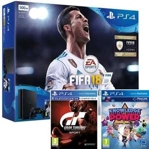 PS4 SLIM 500GB CONSOLE WITH FIFA 18 + GRAN TURISMO SPORT + KNOWLEDGE IS POWER Bundle - £219.95 at The Game Collection online