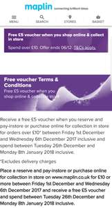 Update 12th Jan: Maplin. Free £5 voucher when you spend £10 and click and collect