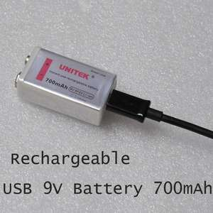 Micro USB rechargeable 9v battery £4.26 @ Unitek store / AliExpress
