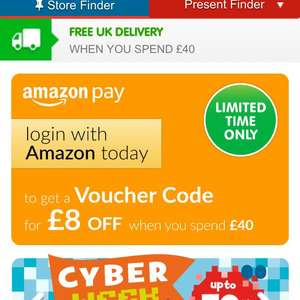 £8 off a £40 spend at The Entertainer when you go through Amazon Pay
