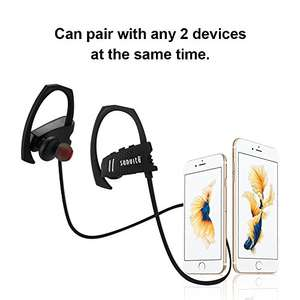 Sunvito Bluetooth Headphones Waterproof Sports Earbuds Wireless In-ear Noise Cancelling Stereo Headsets + MIC & Hooks for Running & Gym - £6.49 (Prime) £10.48( Non Prime) @ Sold by SunvitoDirect and Fulfilled by Amazon