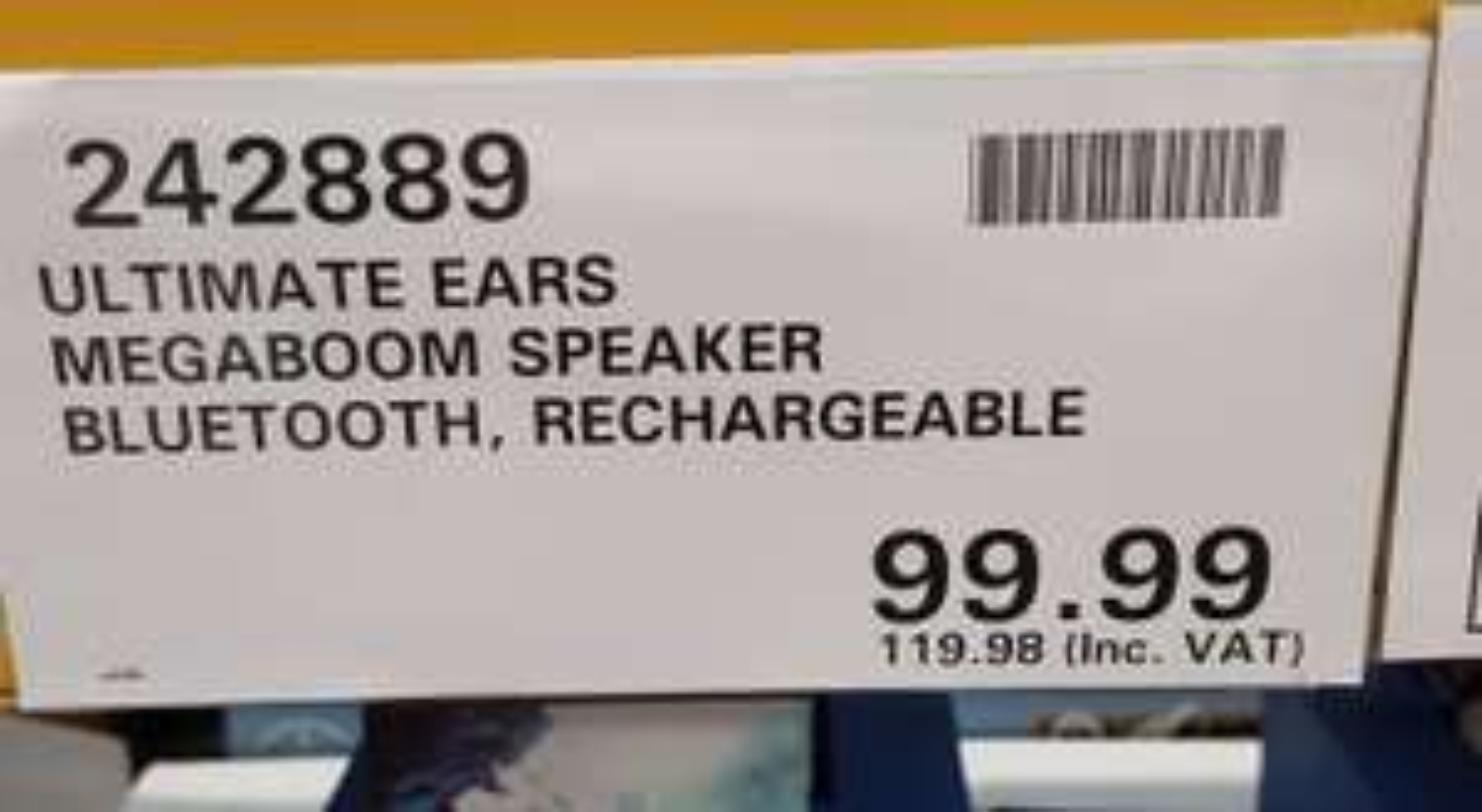 UE Megaboom Bluetooth Speaker £119.98 instore @ Costco Milton Keynes.