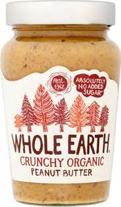 Whole Earth Organic Crunchy or Smooth Peanut Butter No Added Sugar (340g) ONLY £2.00 instore @ Co-op Food Stores