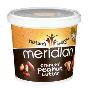 Meridian Natural Crunchy or Smooth Peanut Butter (No Salt, No Palm Oil, No Added Sugar) (1kg) ONLY £6.99 Buy two jars and get the second one Half Price £3.50 @ Holland and Barratt