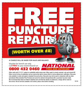 FREE Puncture Repair at National - pay for valve and balance (£10ish)