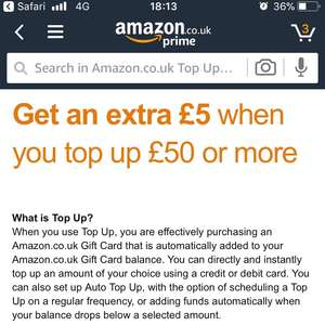£5 free when topping up £50 Amazon