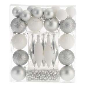 Assorted Silver Effect & White Decorations (Shatterproof), Pack Of 25 for £1 @ B&Q (Free C&C)