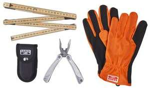 Bahco 3-Piece Tool Set, Clas Ohlson, Multi tool, Gloves and folding rule. £4.99 Free click and collect