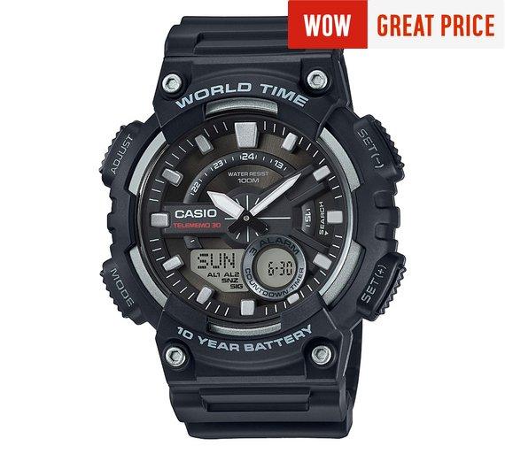 Casio World Time Telememo Black Combi Watch @ £23.99 at Argos