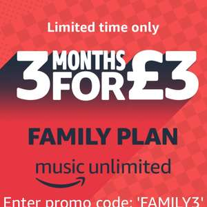 Amazon Music Unlimited Family Plan 3 Months For 3 For New Subs