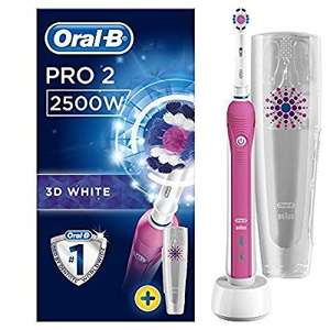 Oral-B Pro 2 2500 3D White Electric Rechargeable Toothbrush with Travel Case Powered by Braun - Pink - Ships with a UK 2 pin plug at Amazon for £27.98