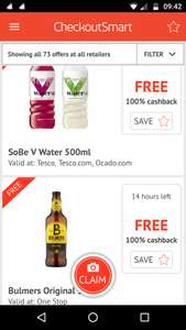 Free v smart water and Bulmers available today via checkoutsmart