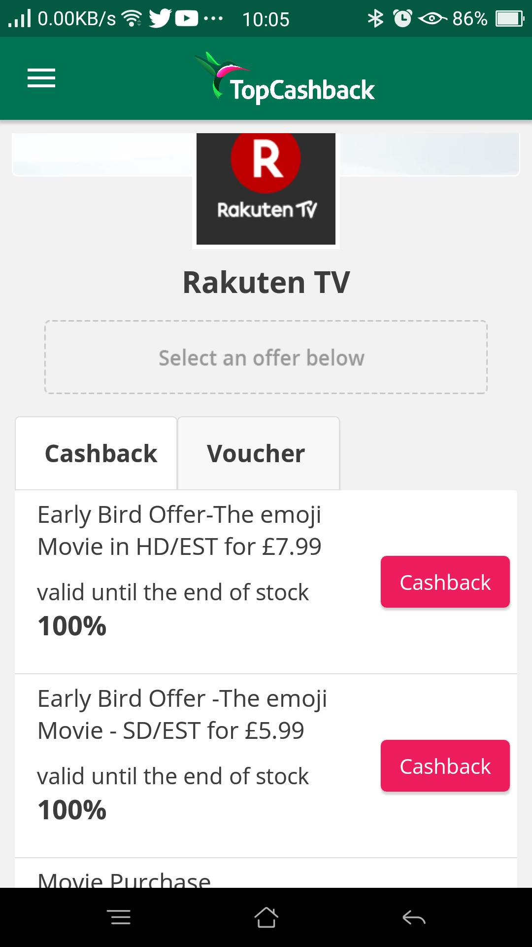 100% cashback on emoji HD or SD movie purchases at Rakuten Tv via TCB