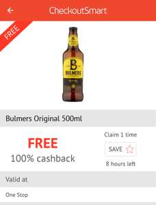 Free bottle of Bulmers via CheckOutSmart App